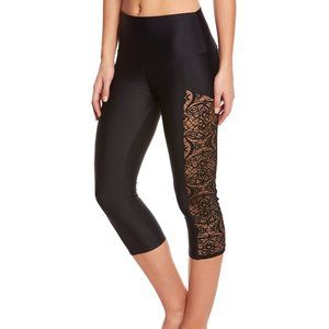 Onzie Stunner Lace Side High Rise Crop Leggings